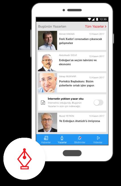 Hürriyet Mobile App Android Offline Yazar Okuma
