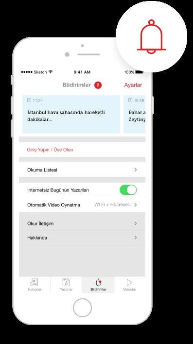 Hürriyet Mobile App IOS Bildirimler
