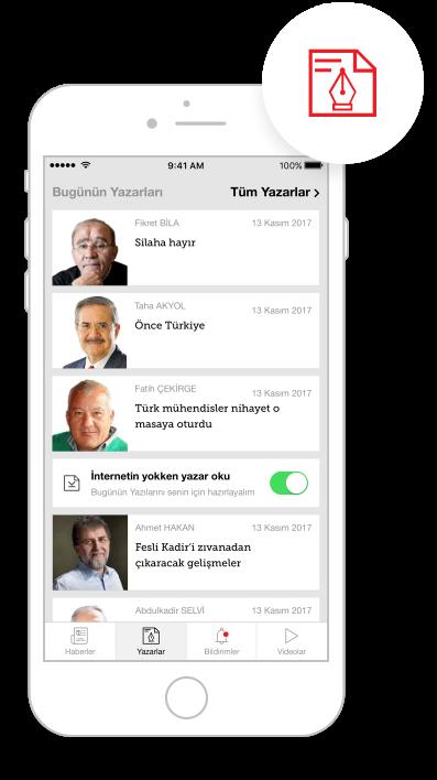 Hürriyet Mobile App IOS Offline Yazar Okuma