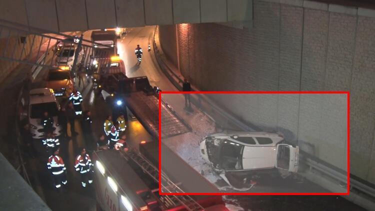 Kontrolden çıkan otomobil 10 metrelik köprüden uçtu: 1 yaralı