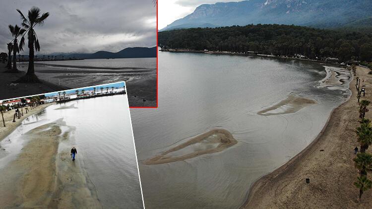 Muğla'da tedirgin eden görüntü! Deniz 40 metre çekildi
