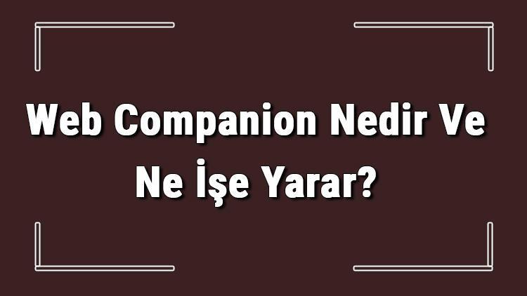 Web Companion Nedir Ve Ne İşe Yarar? Web Companion Nasıl Kaldırılır