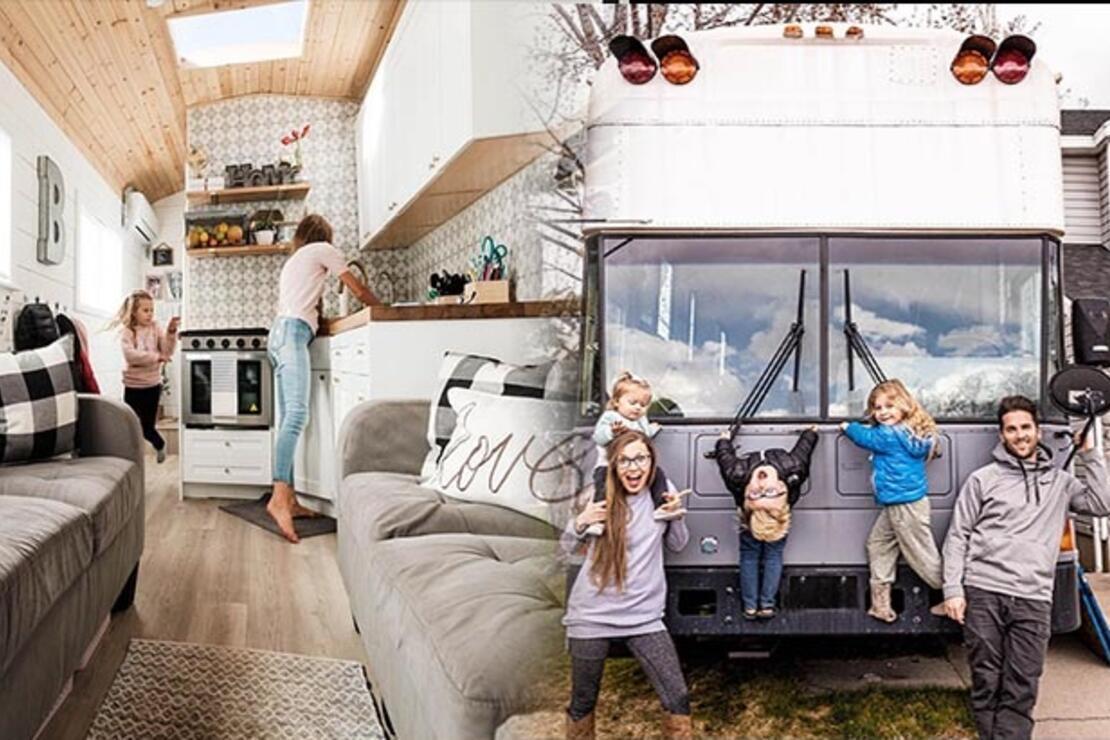 Okul servisinde yaşıyorlar... Çatı katı olan 23 metrekarelik yürüyen bir ev...