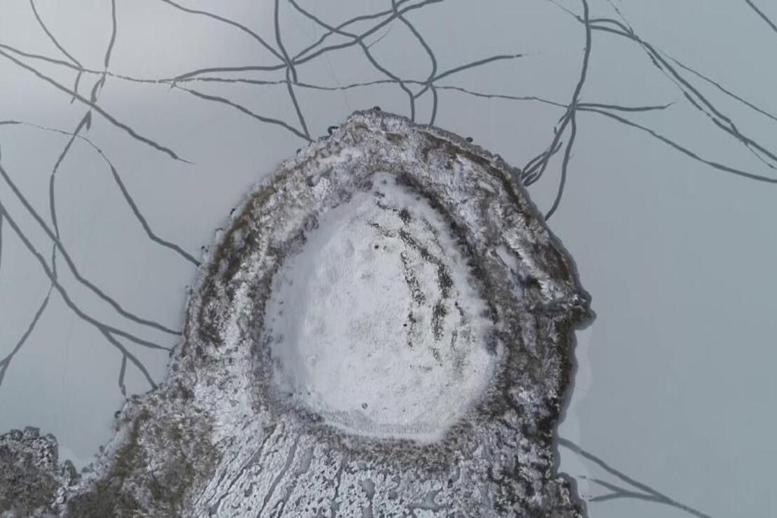 Karla kaplı Pılır Höyüğünde ilginç görüntü