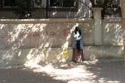 Adanada yüzü kapalı kadın paniği