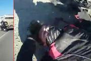 Polisin yaralandığı motosiklet kazası, arkadaşının kask kamerasında