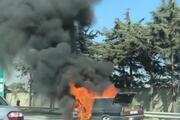 Ümraniye TEMde otomobil yangını