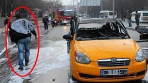 Taksici bir anda alevler arasında kaldı