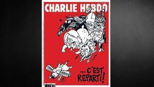 Charlie Hebdo bir buçuk ay aradan sonra yeni sayısıyla piyasada