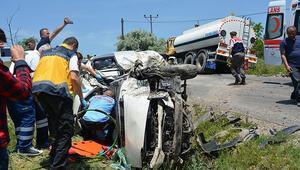 Köy yolunda tanker kazası