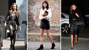 Modaya vazgeçilmezi: Deri etek