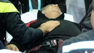 Levent Eriş maçta fenalaştı hastaneye kaldırıldı