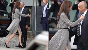 Kate Middleton yırtmacı ve perçemleriyle döndü