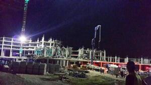 Antalyada otel inşaatında göçük