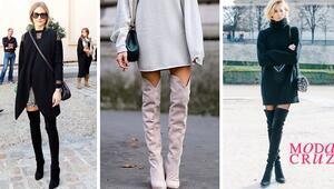 Sezonun favorisi diz üstü çizmeler nasıl giyilir