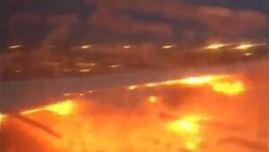 Yolcu uçağı böyle yandı