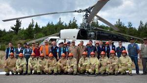 Helikopterli yangın söndürme tatbikatı