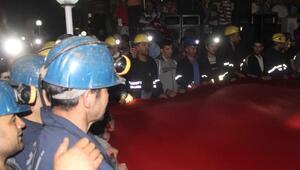 Tavşanlıda yeraltı kömür ocağı işçileri de darbe girişimini protesto etti
