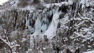 Sibirya soğukları şelaleyi dondurdu