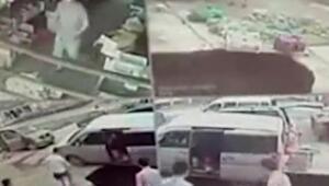 Çinde çöken yol çifti yuttu