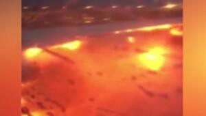 Acil iniş yapan Singapur Havayolları uçağı alev aldı