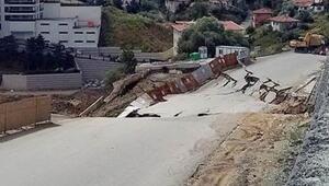 Ankarada çöken yol trafiğe kapatıldı