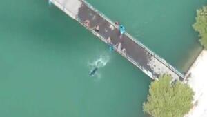 Sulama kanalında yüzenlere helikopterli önlem