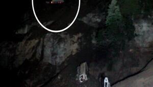 Harfiyat kamyonu 70 metreden uçuruma yuvarlandı