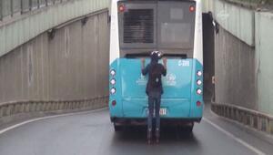 Patenli gencin yoğun trafikteki tehlikeli yolculuğu kamerada