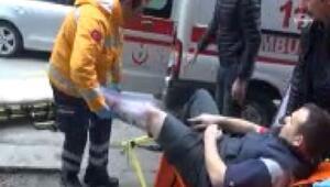 Spiral taşı esnafın ayağına saplandı, diğer esnaf 'patlama' sandı