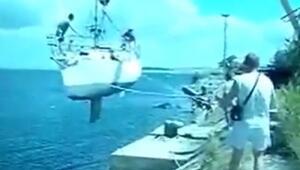 Vinç tekneyi denize indirirken kaza yaşandı