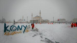Konyada kar yağışı etkili oldu