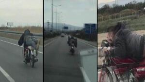 Motosiklet sürücüsünün tehlikeli yolculuğu