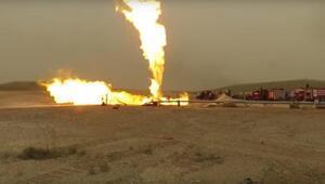 Suriyede boru hattındaki yangın tank atışlarıyla söndürüldü