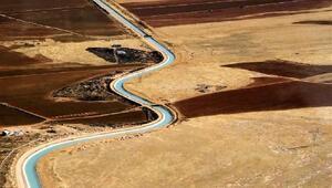 Atatürk Barajı Gölünden Mardine su sağlayacak kanalda sona gelindi