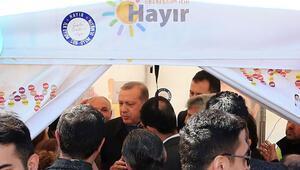 Erdoğan hayır çadırında:  Niçin hayır diyorsunuz