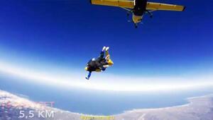 Sabri Sarıoğlunun eşi 5500 metreden böyle atladı