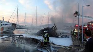 Yat limanında alevli gece: 3 yat yandı, 1 ölü, 1 yaralı