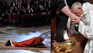 Papa önce ayak öptü sonra yere yattı