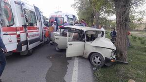 Otomobil, yol kenarındaki ağaca çarptı: 5 yaralı