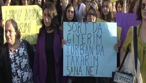 Darp edilen şortlu kıza kadınlardan destek eylemi