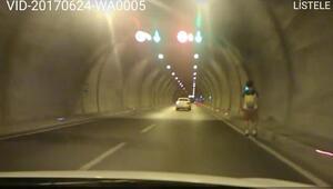 Tünelde paten ile tehlikeli yolculuk
