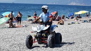 Konyaaltı sahiline ATVli polis timi