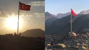 TSK en yükseğini oluşturdu... Türk bayrağı dikildi