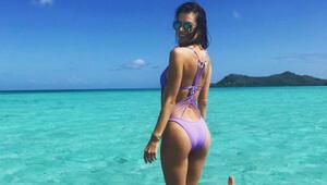 Ünlü model Bora Bora tatilinde