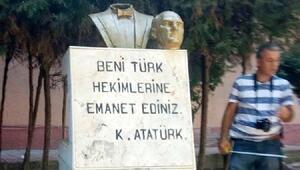 Anamur'da Atatürk büstüne çirkin saldırı