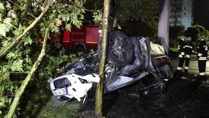 Konyada kaza yapan otomobil yandı: 3 ölü, 2 yaralı