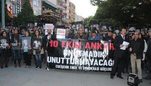 Ankaradaki bombalı saldırı, 2nci yılında Eskişehirde protesto edildi