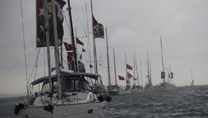 Yelkenciler Cumhuriyet coşkusunu denizde yaşadı