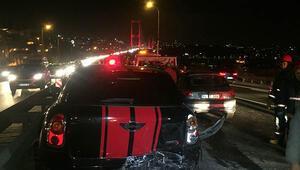 Köprüde trafiği kilitleyen kaza